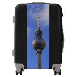 """BERLIN TV Tower with Detail of """"World Time Clock"""" Luggage"""