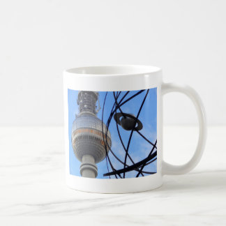 """BERLIN TV Tower with Detail of """"World Time Clock"""" Classic White Coffee Mug"""