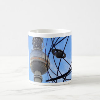 """BERLIN TV Tower with detail OF """"World time Clock """" Classic White Coffee Mug"""