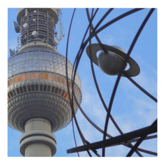 """BERLIN TV Tower with Detail of """"World Time Clock"""" Panel Wall Art"""