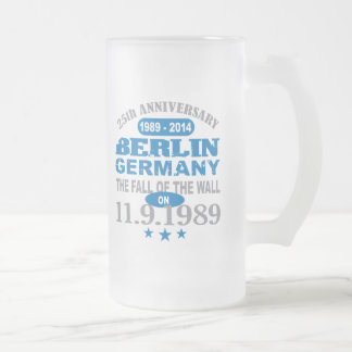 Berlin Wall Germany 25 Year Anniversary Frosted Glass Beer Mug
