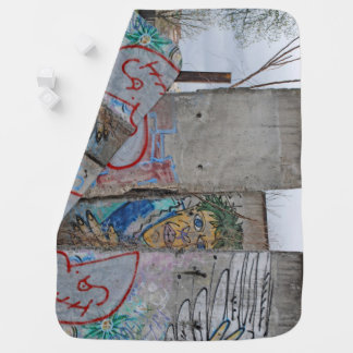 Berlin Wall graffiti art Receiving Blanket