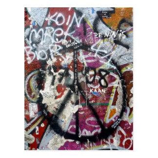 berlin wall graffiti postcard