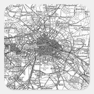 Berlín y mapa de los alrededores (1911) pegatina cuadradas personalizadas