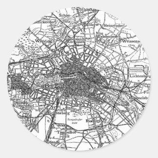 Berlín y mapa de los alrededores (1911) pegatina redonda