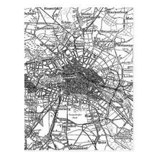 Berlín y mapa de los alrededores (1911) postal