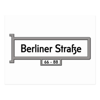 Berliner Strasse, Berlin Street Sign Postcard