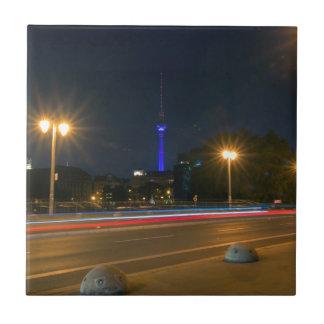 Berlinés paisaje de noche azulejo cuadrado pequeño