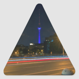 Berlinés paisaje de noche pegatina triangular