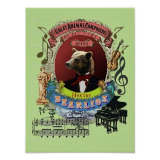 Berlioz Spoof Parody Bearlioz Bear Animal Composer Poster