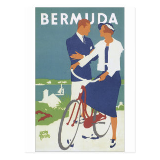 Bermuda Ad featuring a young sailing type couple Postcard
