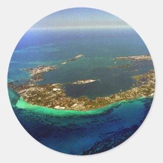 Bermuda Aerial Photograph Classic Round Sticker