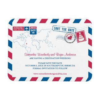 Bermuda Air Mail Wedding Save the Date sz 3x4 Rectangular Magnets
