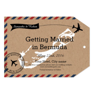 Bermuda Airmail Kraft Luggage Tag Save The Dates 5x7 Paper Invitation Card