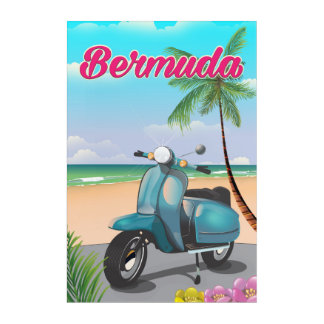 Bermuda Beach Scooter travel poster Acrylic Wall Art