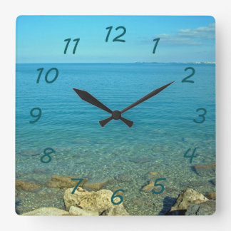 Bermuda Blue Green Waters Square Wall Clock