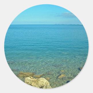 Bermuda Blue Green Waters Round Stickers