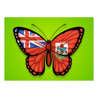 Bermuda Butterfly Flag on Green Business Cards