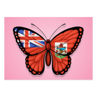 Bermuda Butterfly Flag on Pink Business Card Templates