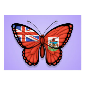 Bermuda Butterfly Flag on Purple Business Card Templates