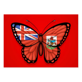 Bermuda Butterfly Flag on Red Business Card Templates