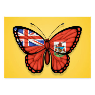 Bermuda Butterfly Flag on Yellow Business Card Templates