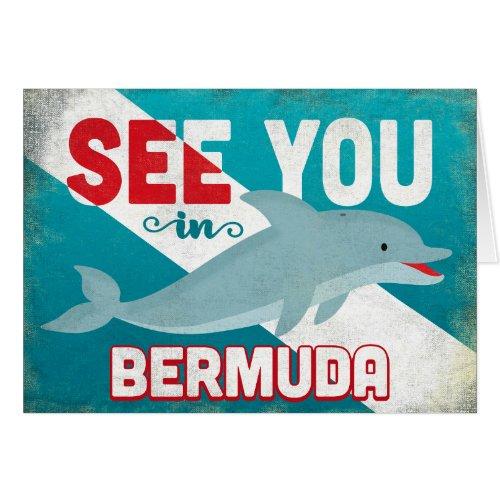 Bermuda Dolphin - Retro Vintage Travel