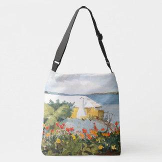 Bermuda Island Flowers Ocean House Tote Bag