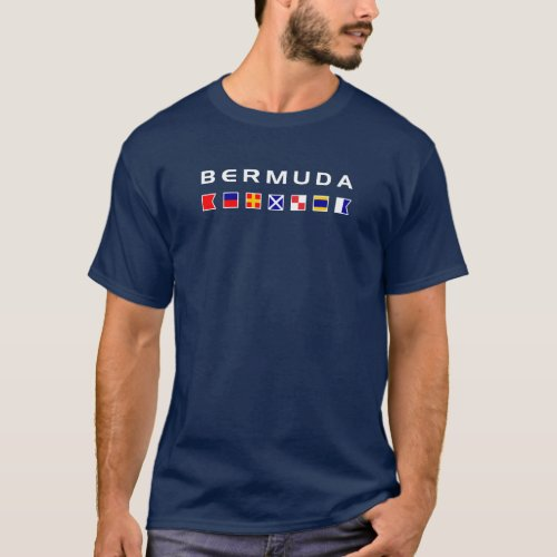 Bermuda Maritime Nautical Signal Flags Dark Color T_Shirt