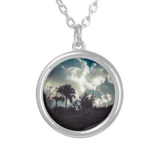 Bermuda Sky Behind Hilltop Silver Plated Necklace