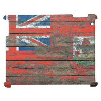 Bermudan Flag on Rough Wood Boards Effect Cover For The iPad