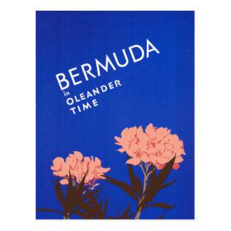 Bermudas azules coloridas en viaje del tiempo del postales
