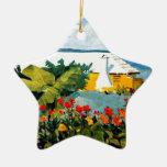 Bermudas - jardín de flores y casa de planta baja adorno navideño de cerámica en forma de estrella