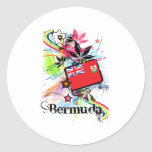 Bermudas Pegatina Redonda