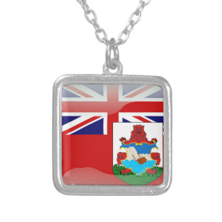 Bermudian glossy flag silver plated necklace