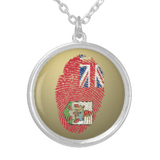 Bermudian touch fingerprint flag silver plated necklace