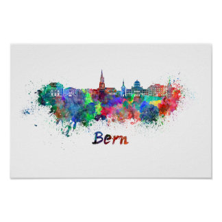 Bern skyline in watercolor poster