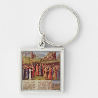 Bernard  of Clairvaux preaching Second Crusade Silver-Colored Square Keychain