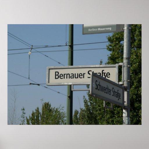 Bernauer y Schwedter calle Poster