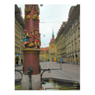 Berne old city - Medieval fountain and clocktower Postcard
