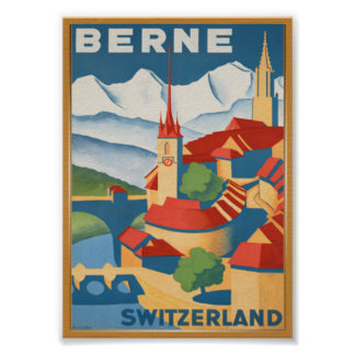 BERNE Switzerland Vintage Travel Poster
