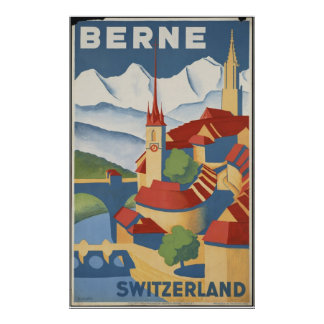 Berne Switzerland Vintage Travel Poster Ad Retro
