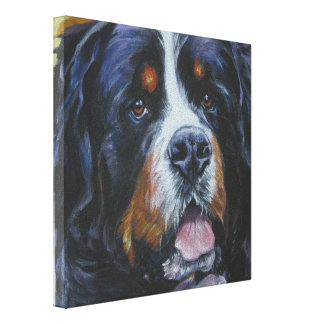 berner Bernese Mountain Dog Painting on Canvas Canvas Print