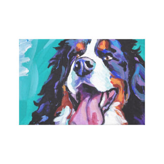 Berner Bernese Mountain Dog wrapped canvas pop art Canvas Print