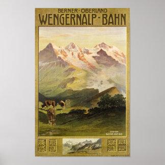 Berner Bernese Oberland Switzerland Vintage Travel Poster