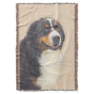 Bernese Mountain Dog 2 Painting - Original Dog Art Throw