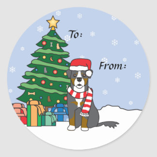 Bernese Mountain Dog and Christmas Tree Round Stickers