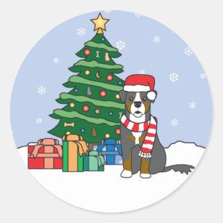 Bernese Mountain Dog and Christmas Tree Round Sticker