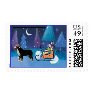 Bernese Mountain Dog and Sleigh Stamp