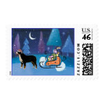 Bernese Mountain Dog and Sleigh Postage Stamps